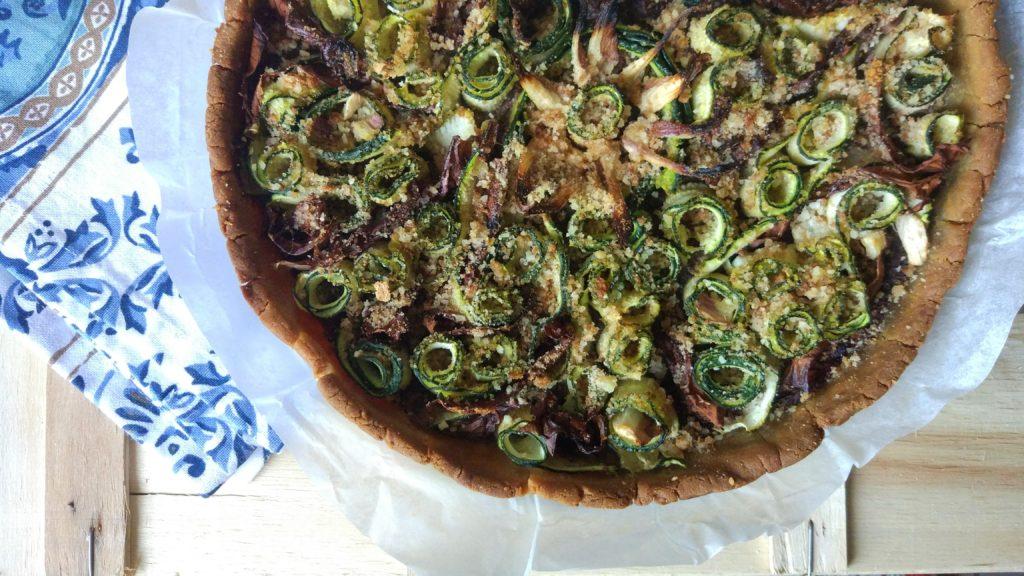 Torta rustica senza lattosio, nichel e glutine al radicchio e zucchine