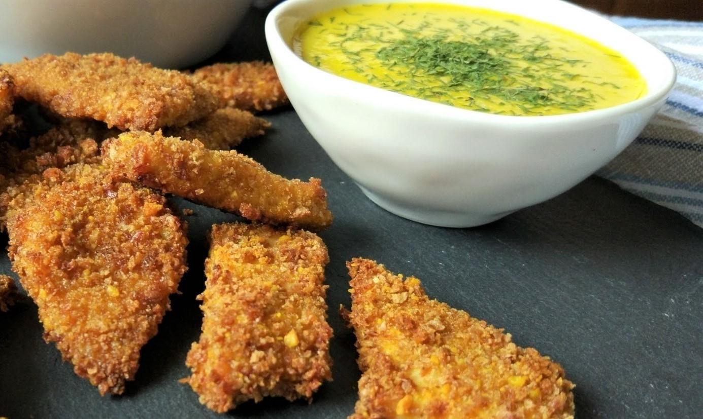 Chips di pollo con salsa di fiori di zucca