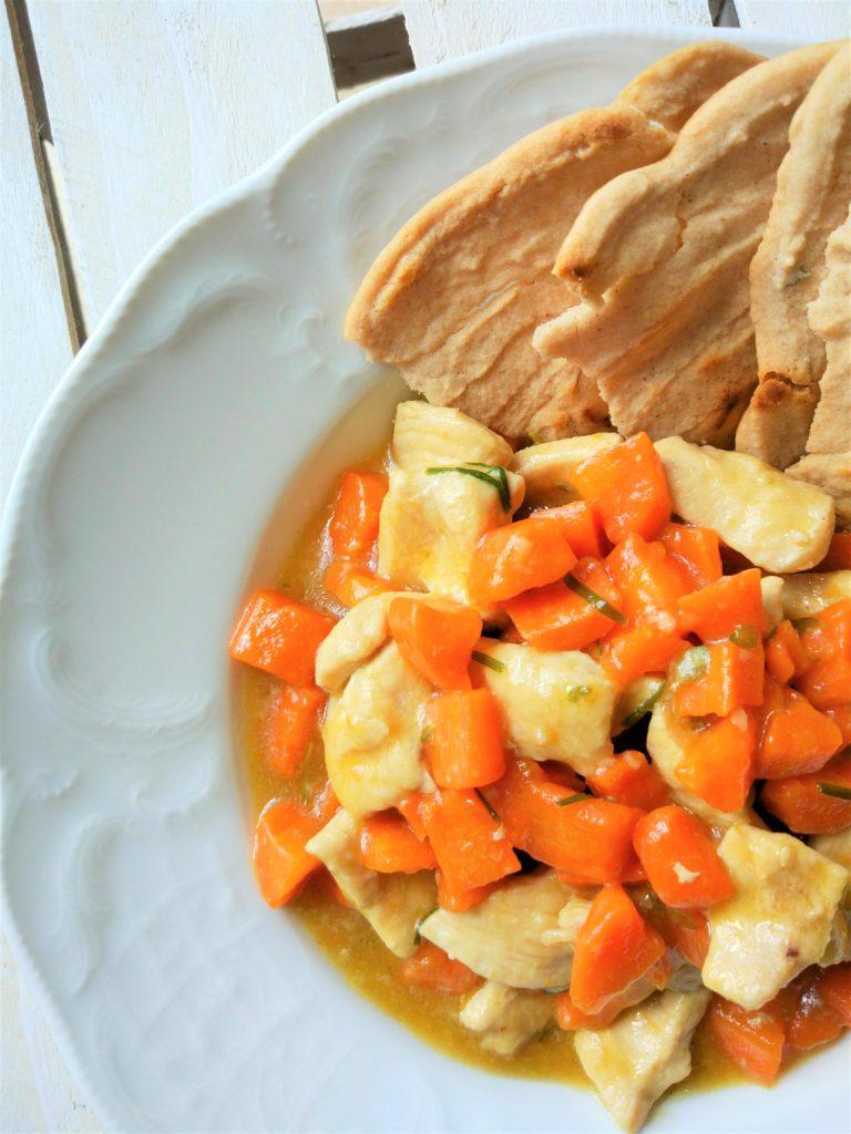 big cracker con straccetti di pollo e carote cremosi